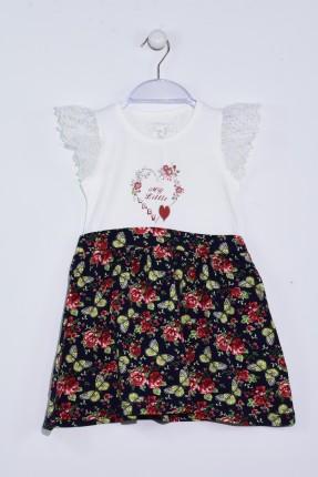 فستان اطفال بناتي باكتاف دانتيل كشكش