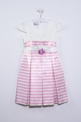فستان اطفال بناتي مخطط مع دانتيل - وردي