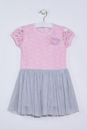 فستان اطفال بناتي مع تول مزين بوردة