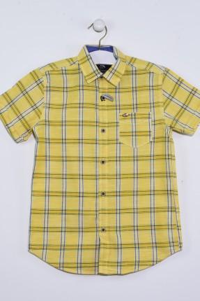 قميص اطفال ولادي كارو مع جيب - اصفر