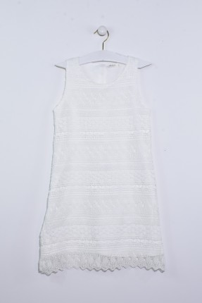 فستان اطفال بناتي دانتيل - ابيض