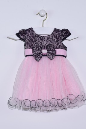 فستان بيبي بناتي مع تول مزين ببيونة - وردي