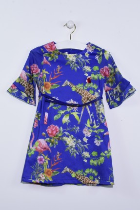 فستان اطفال بناتي مزخرف مع حزام - ازرق داكن