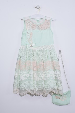 فستان اطفال بناتي دانتيل مع ببيونة