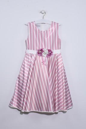 فستان اطفال بناتي مخطط مزين بورد - وردي