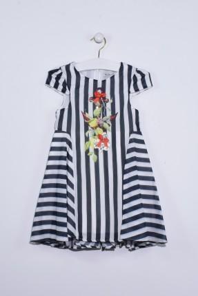 فستان اطفال بناتي مخطط مع زخرفة