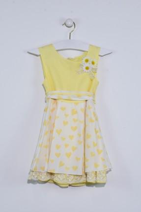 فستان اطفال بناتي منقش - اصفر