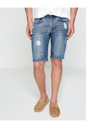 شورت رجالي جينز ممزق سبور - ازرق