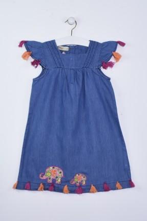 فستان اطفال بناتي مزخرف - ازرق داكن