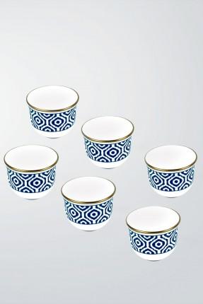 طقم فنجان قهوة عربية 6 اشخاص - مزخرف ازرق