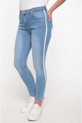 بنطال نسائي جينز بخط جانبي سبور