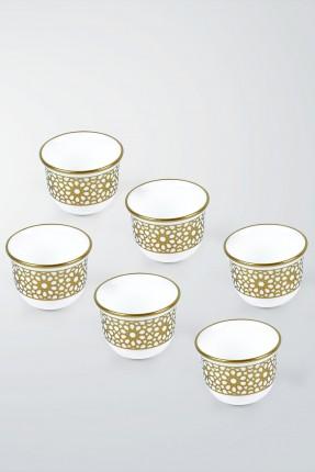 طقم فنجان قهوة عربية 6 اشخاص - نقش ذهبي