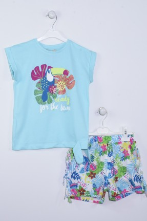 طقم اطفال بناتي صيفي مزخرف - ازرق