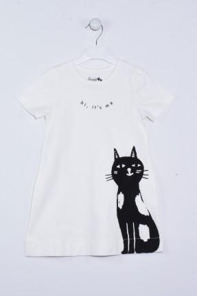 فستان اطفال بناتي مع طبعة قطة
