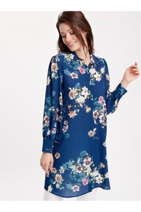 قميص نسائي طويل مورد سبور - ازرق