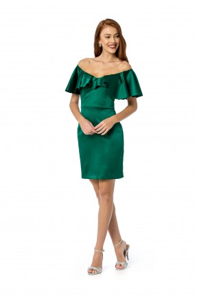 فستان رسمي باكتاف منخفضة قصير - اخضر