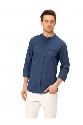 قميص رجالي بجيب جانبي وياقة مدورة - ازرق