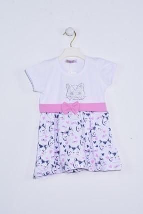 فستان اطفال بناتي منقش قطط