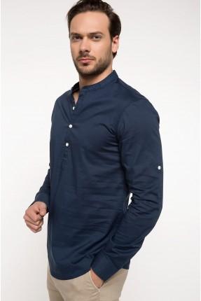 كنزة رجالي موديل قميص سبور - ازرق داكن