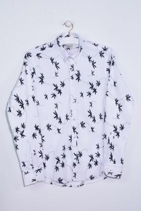 قميص رجالي كم طويل مزين بورق شجر