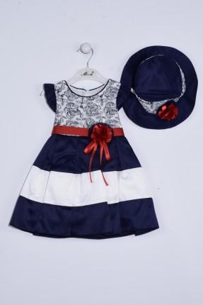 فستان بيبي بناتي منقش بورد - ازرق داكن