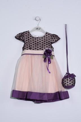 فستان اطفال بناتي مع تول ودانتيل + حقيبة