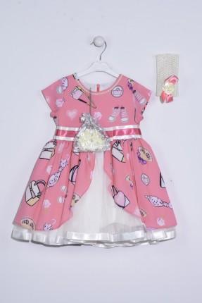 فستان اطفال بناتي منقش مع تول - وردي