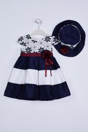 فستان بيبي بناتي مطرز بورد مع برنيطة