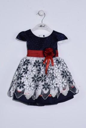 فستان بيبي بناتي مطرز بورد - كحلي