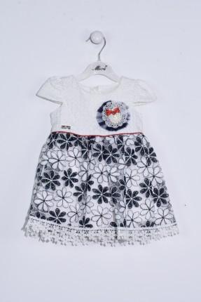 فستان بيبي بناتي مطرز بورد - ابيض