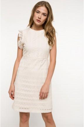 فستان رسمي دانتيل مع كشكش