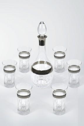 طقم زجاجة مع كاسات شراب 6 اشخاص - مزخرف فضي