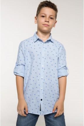 قميص اطفال ولادي منقش - ازرق