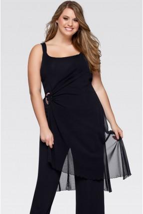 فستان سبور شيك قصير بروتيل - اسود