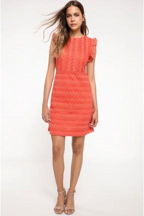 فستان رسمي دانتيل مع كشكش - برتقالي