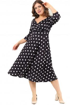 فستان سبور قصير منقط دوائر بياقة V