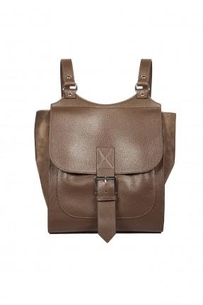 حقيبة ظهر جلد نسائية مزينة بحزام - اسود