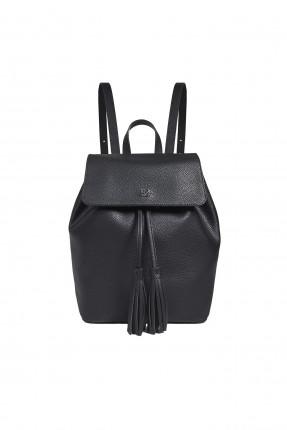 حقيبة ظهر نسائية جلد مزينة بقطعة شرشبة - اسود
