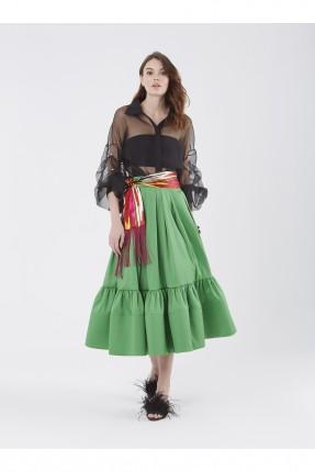 تنورة طويلة عريضة - اخضر