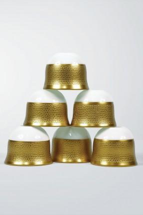طقم فناجين قهوة عربية 6 اشخاص - منقش ذهبي