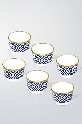 طقم فناجين قهوة عربية 6 اشخاص - مزخرف ازرق