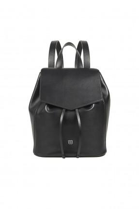 حقيبة ظهر جلد نسائية سبور شيك - اسود