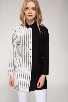 قميص نسائي طويل مقلم