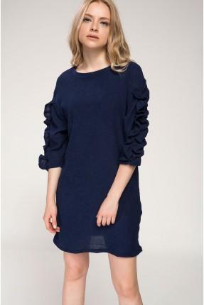 فستان سبور مزموم الاكمام - ازرق داكن