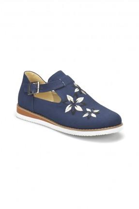 حذاء نسائي مطرز بحزام جانبي سبور - ازرق