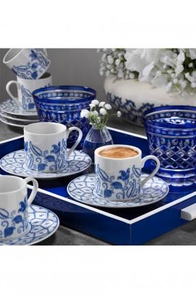 طقم فناجين قهوة / 6 اشخاص / مزخرف بالازرق