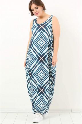 فستان سبور حفر منقوش طويل - ازرق