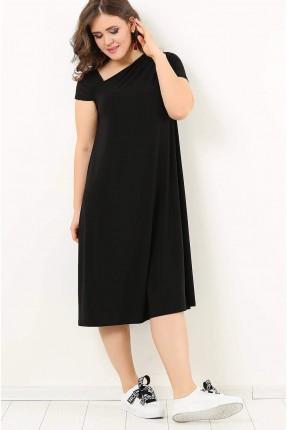 فستان سبور قصير نصف كم سادة - اسود