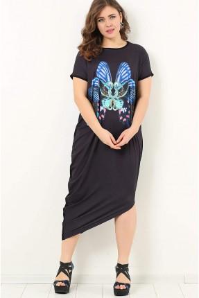 فستان سبور غير منتظم الطول مطبوع فراشة