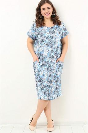 فستان سبور منقوش ورد بجيوب - ازرق